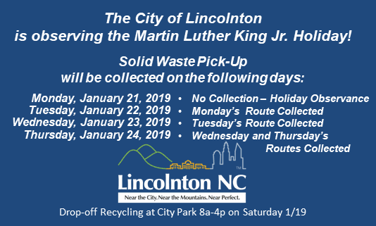 MLK Holiday Schedule for Solid Waste
