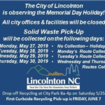 Memorial Day 2019 - Solid Waste Schedule