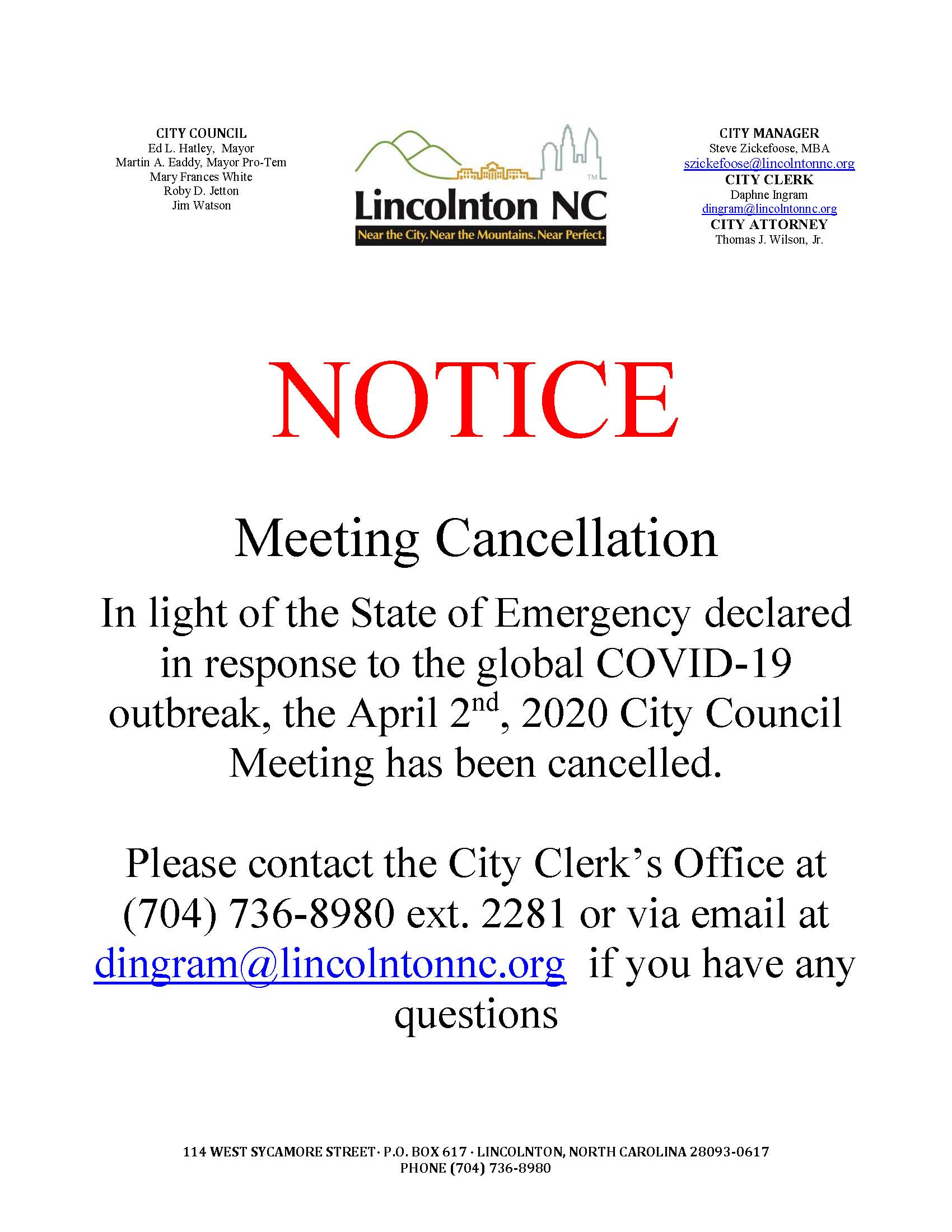notice - meeting cancellation 4-2-2020